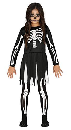 FIESTAS GUIRCA Disfraz Vestido Esqueleto nia Talla 5-6 aos