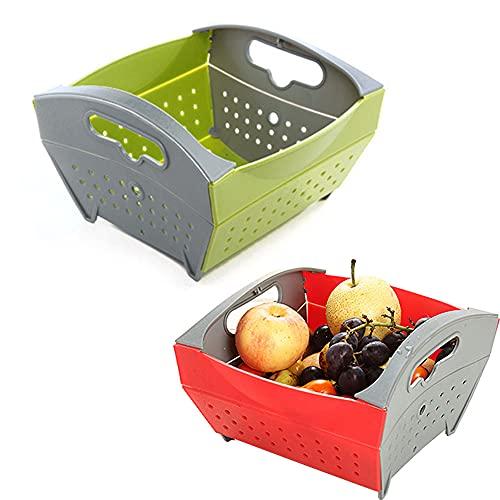 CROWNXZQ 2 Cesta de desagüe Plegable Fruta y Vegetal Lavado de Platos Almacenamiento Cuenca Plegable con Drenaje, filtros de Comida Fregadero Colador Espacio Ahorro de Cocina