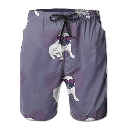 YongColer Men Cool Surfing Beach Board Shorts Swim Trunks - French Bulldog Puppy Dog Heart Shape Glasses