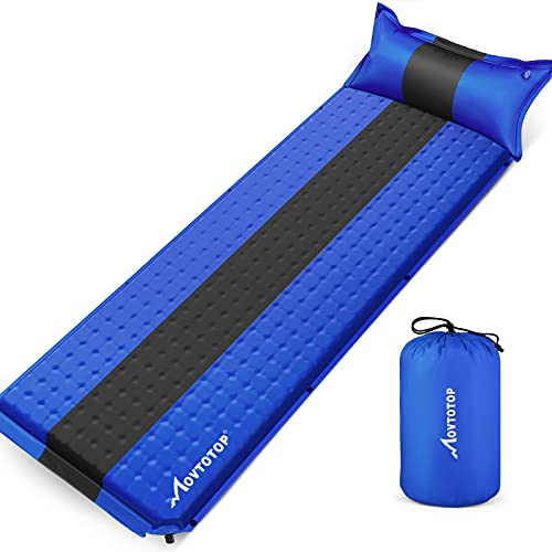 MOVTOTOP Sleeping Pad for Camping, Foam Camping Mattress Self-Inflating Ultralight Thicken Camping Pad with Attached Pillow, Perfect Gear for Hiking, Traveling and Backpacking (Self-Inflating)