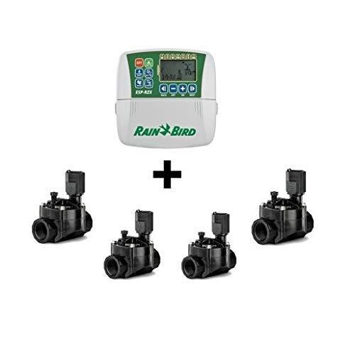 Rain Bird Programador de RIEGO eléctrico ESP RZXE4 Interior + 4 Electroválvulas 100-HV 1