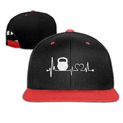 Kettlebell Heartbeat Gorra de béisbol Snapback Base Plana Hip Hop Gorra de béisbol Hombres Ajustable, Pesa rusa Heartbeat 5, Talla única