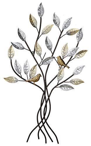 Dreamlight Decoración de Pared Moderna Escultura de Pared árbol en Relieve con pájaros marrón Metal 77x50 cm
