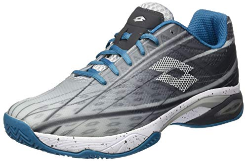 Lotto Herren Mirage 300 Cly (45 EU, Silver Metal/All White/Mosaic Blue) Tennisschuhe