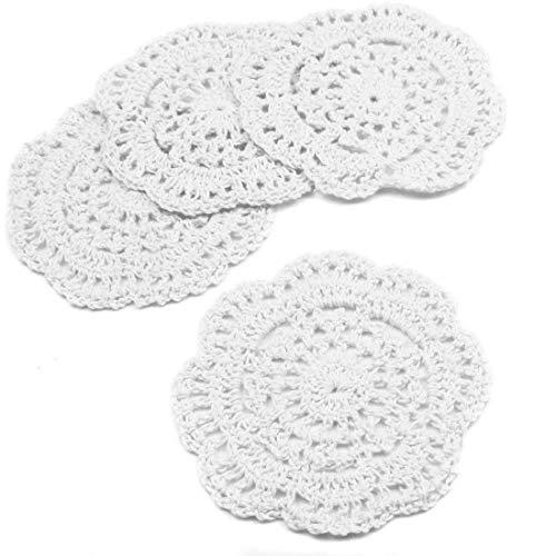Posavasos de encaje hecho a mano, juego de 4 unidades de manteles individuales redondos, diseño de flores blancas de 4,7 pulgadas