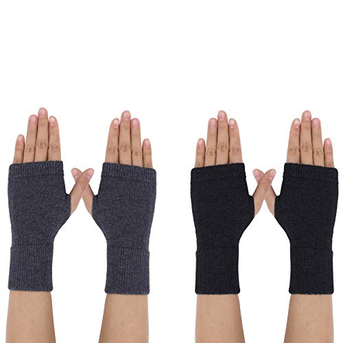 Kaschmir Handschuhe Fingerlose Fäustlinge Handwärmer für Damen, 2 Paar Wärmer Strick Kurzer Gestrickte Halb Winter-Handschuhe mit Fingerdaumenloch zum Tippen Fahren