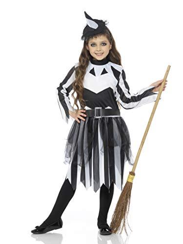 Karnival Kostuums 84583 Halloween Stripy Heks Kostuum, Meisjes, Zwart & Wit, X-Large