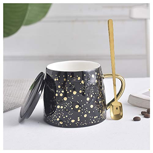 wanhaishop Coffee Mug Fashion Sequins Trendy Mug Pot Belly Breakfast Mug Novel Ceramic Couple Coffee Cup With Lid Spoon 360ml, Suitable for Couples, Meaning a Lifetime Tea Cup (Color : Black)