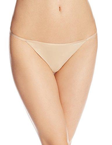 Calvin Klein Women's Sleek Model Thong Panty, Bare, Medium