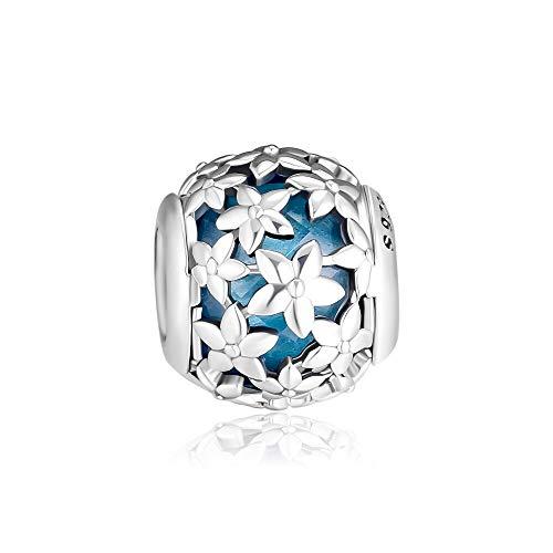 LIIHVYI Pandora Charms para Mujeres Cuentas Plata De Ley 925 Regalo De Joyería De Cristal De Flor De Plumeria Compatible con Pulseras Europeos Collars