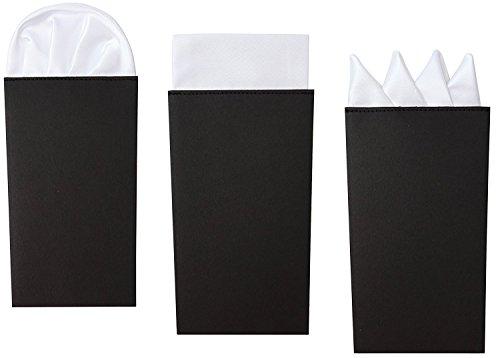 3 Pack Set Männer Weißes Einstecktuch Set, Vorgefaltet Präsidial-, Kronen- und Pufffalte