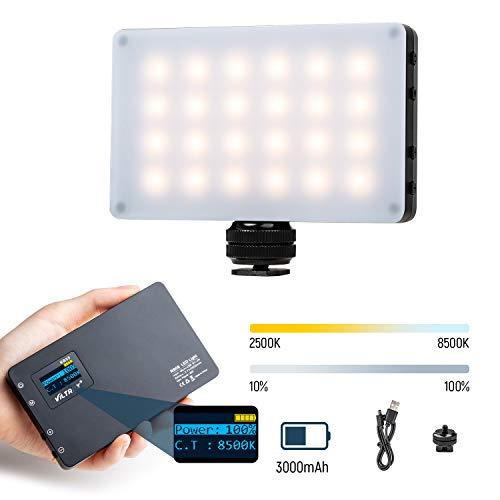 Mini LED Light, Pocket On-Camera Video Fill Light 2500K~8500K for DSLR Camera Camcorder with 3000mAh Battery, CRI 95, Magnet Filters