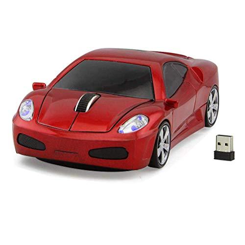 STAR-LINK Coole 3D-Sport-Rennwagen-Form 2,4 GHz Wireless Mouse 1600 DPI Ergonomisches Design Optische kabellose USB-Gaming-Maus mit Scheinwerfer für PC Computer Laptop Notebook Office Rot