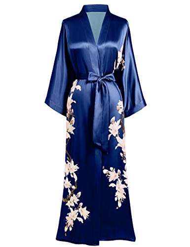 BABEYOND Damen Morgenmantel Kimono Blumen Zweig Gedruckt Maxi Lang Damen Bademantel Birnenblumen Strandjacke Braut Junggesellinnenabschied Party Schlafmantel (Navy Blau)