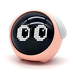 HAIMANMAY Kids Alarm Clock, Children's Sleep Trainer with Facial Expressions-Ok to Wake Clock Night Light Alarm Clock, Wake Up Light, Smart Digital Alarm Clock, Display Temperature Sleep Timer Pink