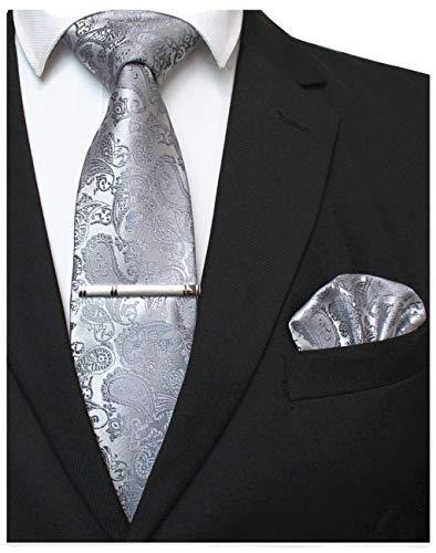 JEMYGINS Corbata Paisley y pañuelo de bolsillo Slim con alfiler de corbata para hombre plateado Medium