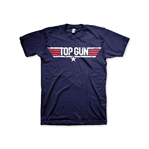 Top Gun Officially Licensed Merchandise Distressed Logo T Shirt Navy Small