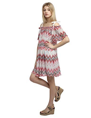 APART stylishes Damen Kleid, Sommerkleid, Carmen-Ausschnitt, Hängerchen-Style mit modischem Muster