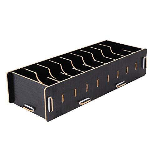 名刺ケース 整理箱 大容量 名刺スタンド 卓上収納ラック 木製 名刺カードボックス DIY カードケース 収納ラック 卓上 収納ボックス カード入れ カードホルダー オフィス 文房具 おしゃれ (ブラック)