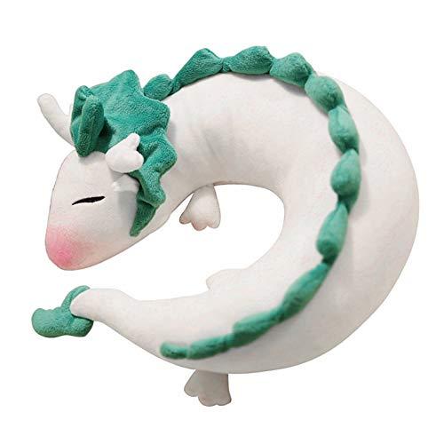 ForBEST Dragon U-Shape Pillow Plush Doll Toy Neck Pillow Anime Cute Soft Little White Dragon Best Gift for Kids (Light Green)
