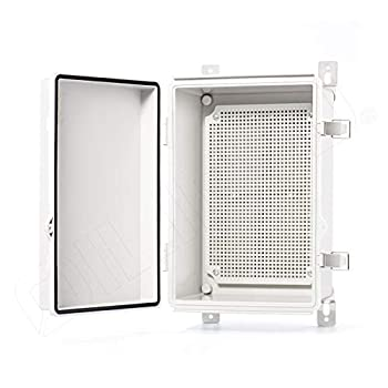 QILIPSU Hinged Cover Stainless Steel Latch 285x195x130mm Junction Box with Mounting Plate Universal IP67 Project Box Waterproof DIY Electrical Enclosure ABS Plastic Grey  11.2 x7.7 x5.1  SSL