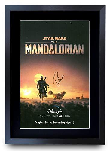 HWC Trading A3 FR The Mandalorian Pedro Pascal Gifts gedrucktes Autogramm für TV Fanartikel-Fans – A3 gerahmt