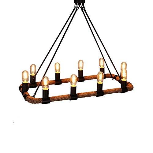 Exquisita Americana creativo retro del forjado de techo de hierro industrial cáñamo Luz de la cuerda 10 lámpara del dormitorio de la cabecera de la lámpara pendiente Iluminación decorativa tienda de r