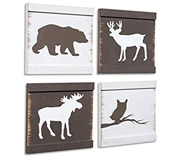 Home Rustique Rustic Cabin Decor Bear Moose Owl and Deer Wooden Wall Decoration  Set of 4 White + Brown  | Woodland Lodge Decor | Hunting Decor | Cabin Wall Decor