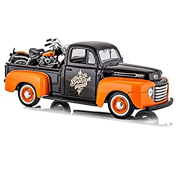 1948 Ford F-1 Pickup Truck Orange/Black with 1958 FLH Duo Glide Harley Davidson Motorcycle 1/24 by Maisto 32180