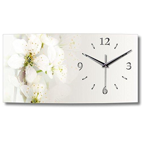 Kreative Feder weiße Blüte XXL Natur Küchenuhr Designer leise Funk Wanduhr Funkuhr modernes Design OHNE Ticken * WA154 (50x25cm leises Funkuhrwerk)