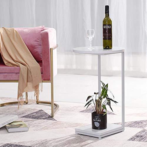 JYQ-SZRQ Tavolino Laterale da Divano Tavolino da Salotto Tavolo da Pranzo Camera da Letto Balcone Lato Rotondo Struttura in Metallo, 40 * 30 * 65 CM (Color : White)