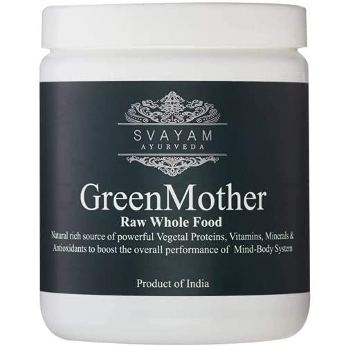 GreenMother - Hoja de Moringa en Polvo - Grado Ayurveda - Proteína Vegetal - 240 g - Contiene más de 90 Nutrientes y 46 Antioxidantes - SuperAlimento Natural - Ayurveda SVAYAM