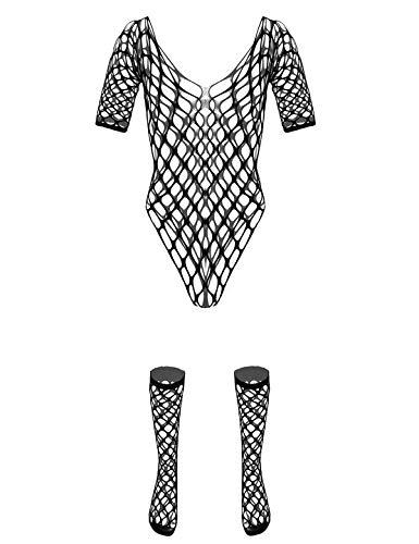 CHICTRY Transparent Jumpsuit Herren Ouvert-Body Overall Ganzkörper Anzug Fischernetz Strumpfhosen Dessous Lingerie Clubwear Schwarz J One Size