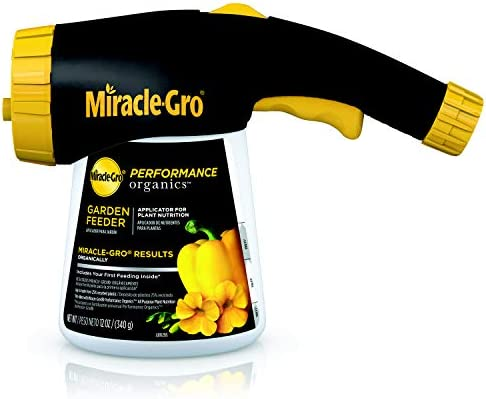 Miracle-Gro Performance Organics Garden Feeder, 12 oz. - Includes First Feeding of Miracle-Gro Performance Organics Plant Nutrition Inside - Feed Vegetables, Flowers and Herbs While Watering