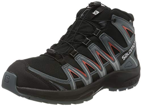 Salomon Kinder Wanderschuhe, XA PRO 3D MID CSWP J, Farbe: schwarz/orange (Black/Stormy Weather/Cherry Tomato), Größe: EU 34