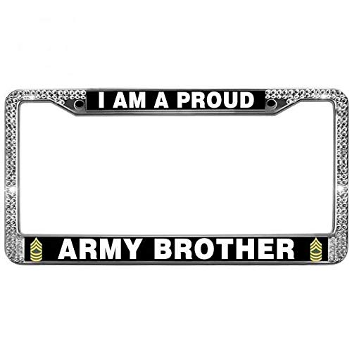 paipaidiedie Glitter Rhinestone US Army Quotes Car License Plate Covers Proud Army Brother Glitter Bling License Plate Frame Durable Metal License Plate Cover Tag Holder for US Vehicles