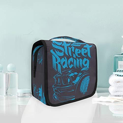 Arte Abstracto Coche Azul Bolsas de Aseo Neceser de Maquillaje Colgante Plegable Cosmético Bolso de Artículos de Tocado para Mujeres Niñas