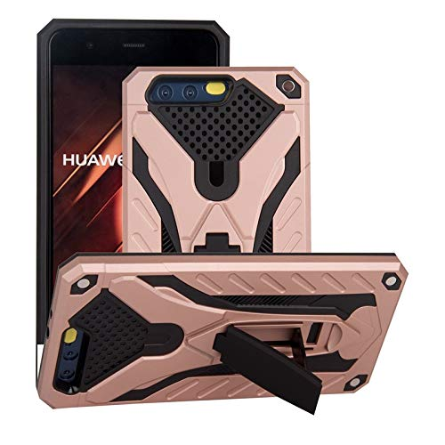 MyCase for Huawei P10 Shockproof Dual Layer 2-in-1 Armor PC+TPU Protective Hard Stand Case (Color : Rose Gold)