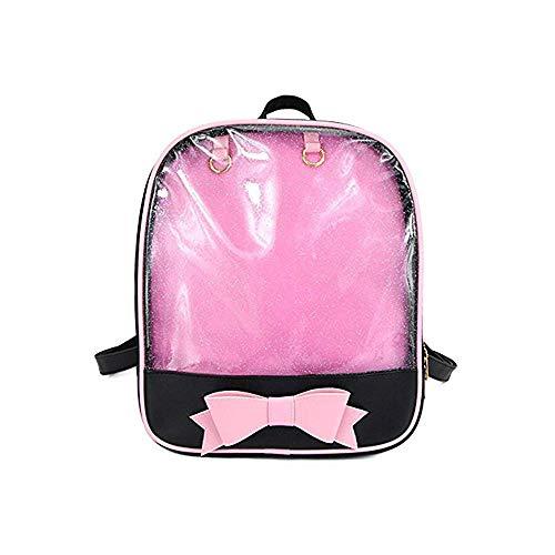 Ita Bag Rucksack Mädchen Süß Candy Leder Tasche Geldbörse Schultasche Sommer Strandtasche Geldbörse mit Bowknot Transparente Fenster für DIY Dekore Schwarz/Rosa