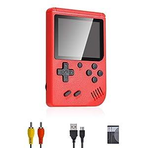 Lychee Mini Retro Consola de Juegos Portátil,Pantalla LCD de 3 Pulgadas HD Consolas de Juegos de Mano con 400 Juegos Clásicos, Cumpleaños para Niños/Adultos (Rojo)
