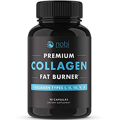 Nobi Nutrition Collagen Fat Burner - Carbohydrate Blocker, Metabolism Booster an Appetite Suppressant - Multi Collagen Complex - Healthier Skin, Hair, and Nails - for Men and Women - 90 Capsules