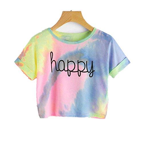 Amlaiworld Damen Sommer Strand Happy T-Shirt elegant Mädchen Niedlich pullis Mode Farbverlauf bauchfrei Oberteile Sport locker Gemütlich Bluse (M, Blau)
