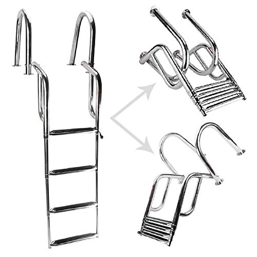 NovelBee Heavy Duty Welded 316 Stainless Steel 4 Steps Pontoon Boat Ladder,Folding Telescoping Rear Entry Dock Ladder with Wide Step and Extra Handrail