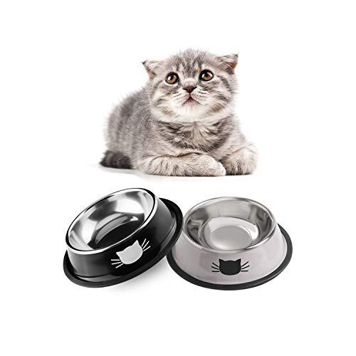 Skrtuan Katzennäpfe,2 Stück Futternapf Katze, Futternapf Katze Set,katzennapf,Futterschüssel Katze,Wasser Fütterung Schüssel,katzennäpfe Edelstahl