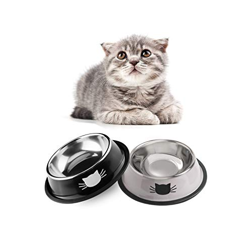SKRTUAN Katzennäpfe, 2 Stück Futternapf Katze, Futternapf Katze Set, katzennapf,Futterschüssel Katze, Wasser Fütterung Schüssel, katzennäpfe Edelstahl