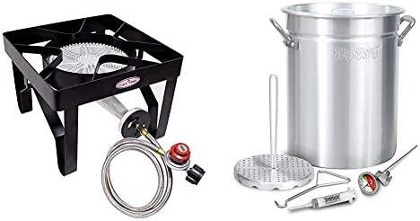 GasOne 200 000 BTU Square Heavy Duty Single Burner Outdoor Stove Propane Gas Cooker Steel Braided product image