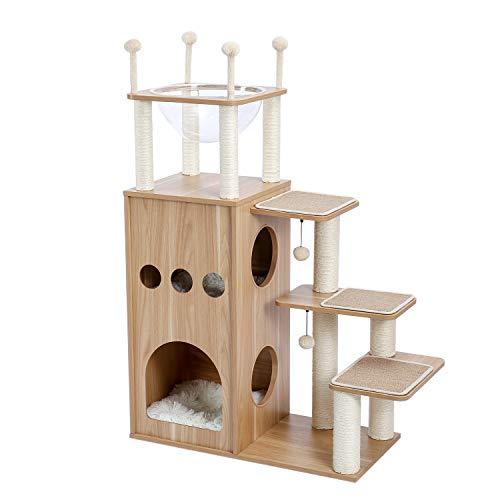 QTA Moderner Katzenturm der Katzenbaum, der mit voller Sisal-Abdeckung von Kratzerpfosten, Deluxe-Eigentumswohnungen und großes Weltraumkapselnest kennzeichnet