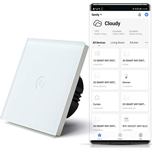 BSEED Interruptores de luz de pared Smart WiFi Touch Sensor (se necesita alimentación neutra) Panel de vidrio compatible Alexa/Tuya/IFTT 1 Gang 1 Via Blanco
