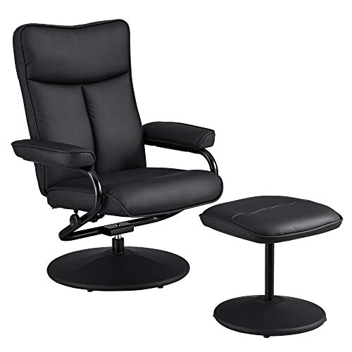 [en.casa] Relaxsessel mit Hocker Fernsehsessel inkl. Liegefunktion TV Sessel Kunstleder schwarz