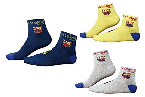 Massi Pack Barça - Calcetines de Ciclismo Unisex, Color Amarillo/Gris/Azul, Talla única